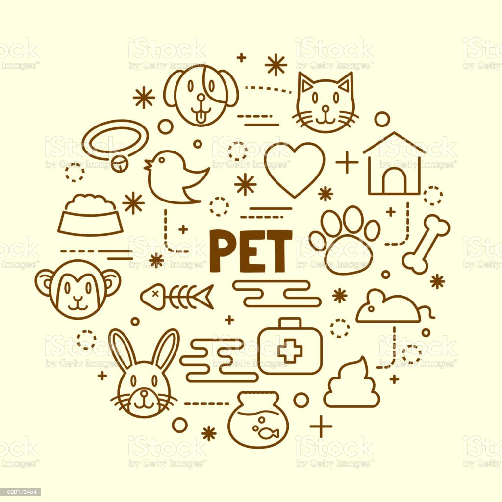 pet minimal thin line icons set vector art illustration