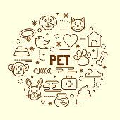 pet minimal thin line icons set