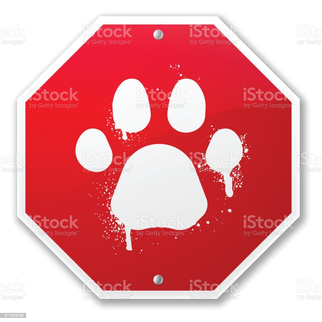 Pet Paw Print Stop Sign vector art illustration