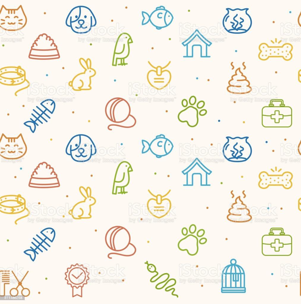 Pet Seamless Pattern. Vector vector art illustration