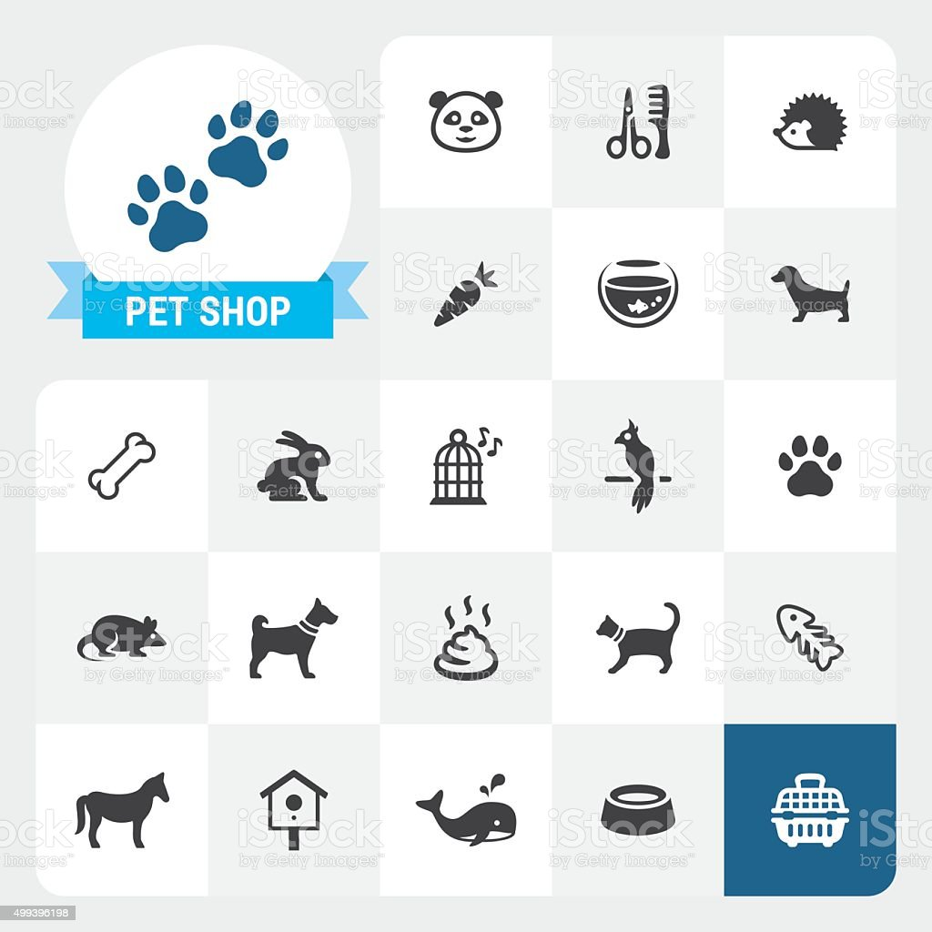 Pet Shop base vector icons and label vector art illustration