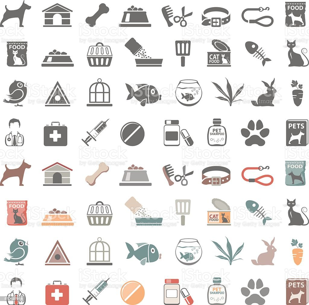 Pet Shop Icons vector art illustration