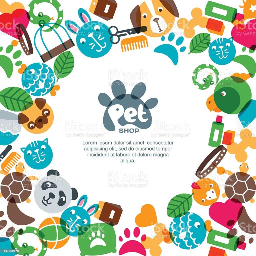 Zoo poster design - Pet Shop Zoo Or Veterinary Square Banner Poster Flyer Design Illustracion Libre