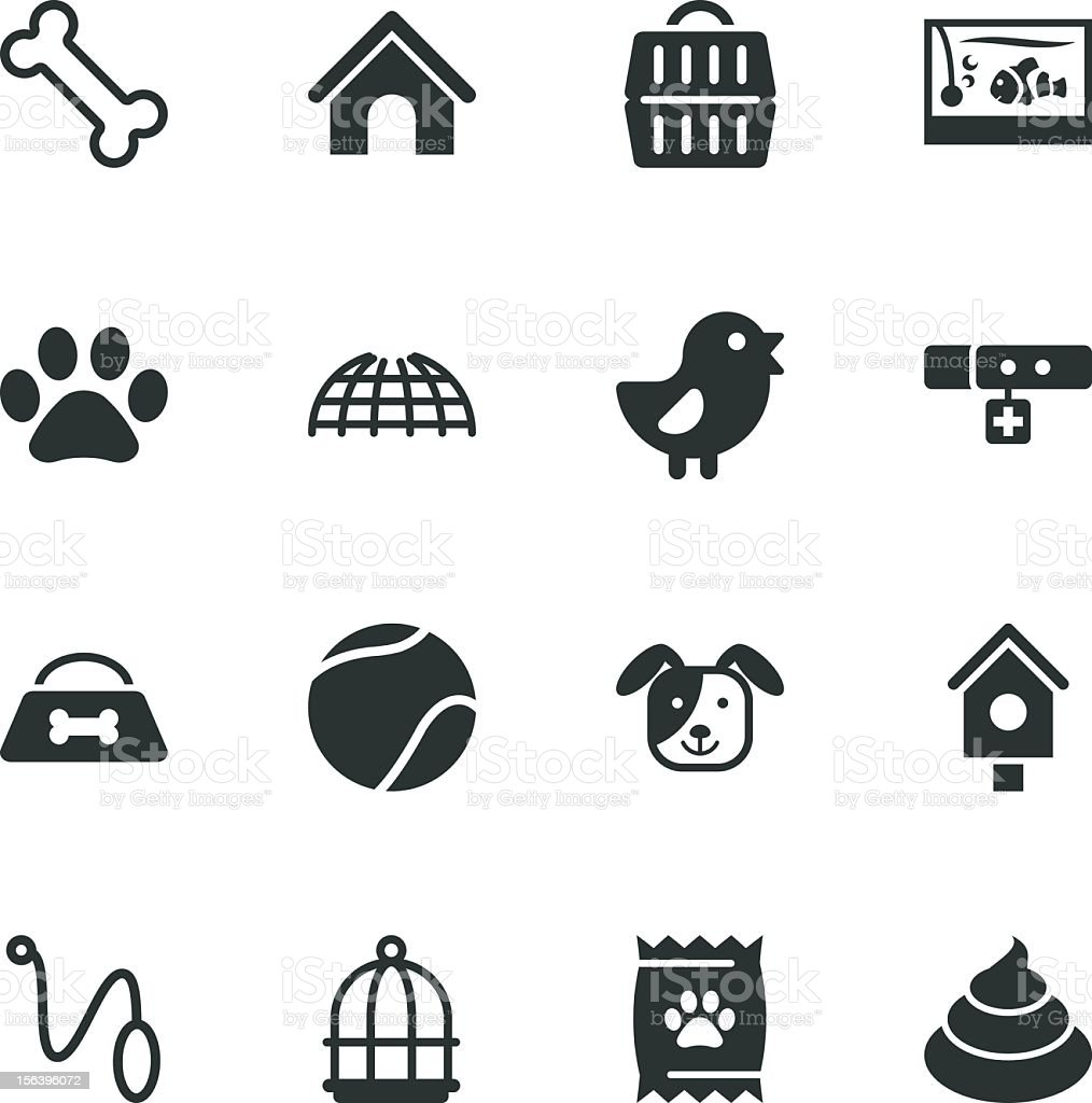 Pet Silhouette Icons vector art illustration