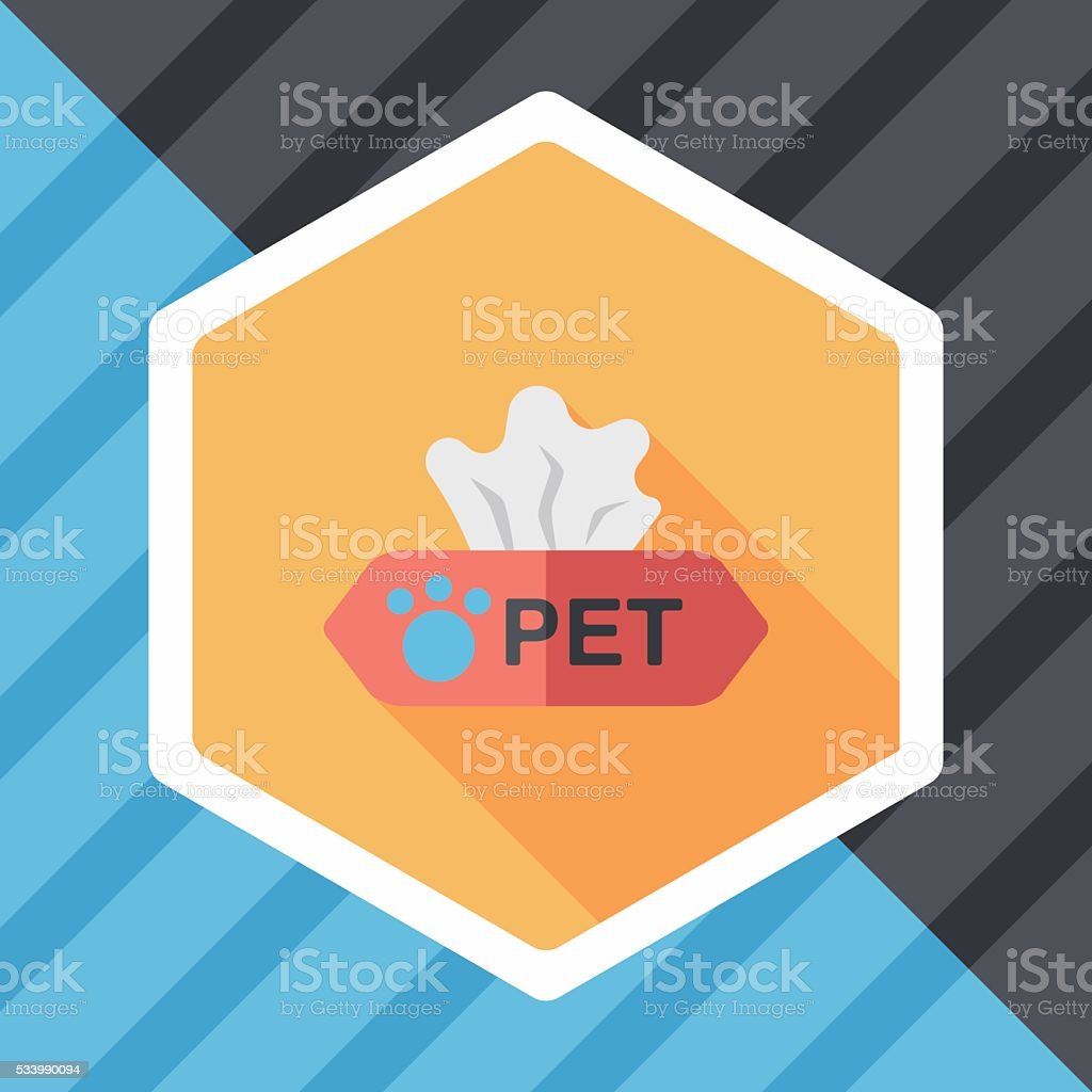 Pet style tissue case flat icon with long shadow,eps10 vector art illustration