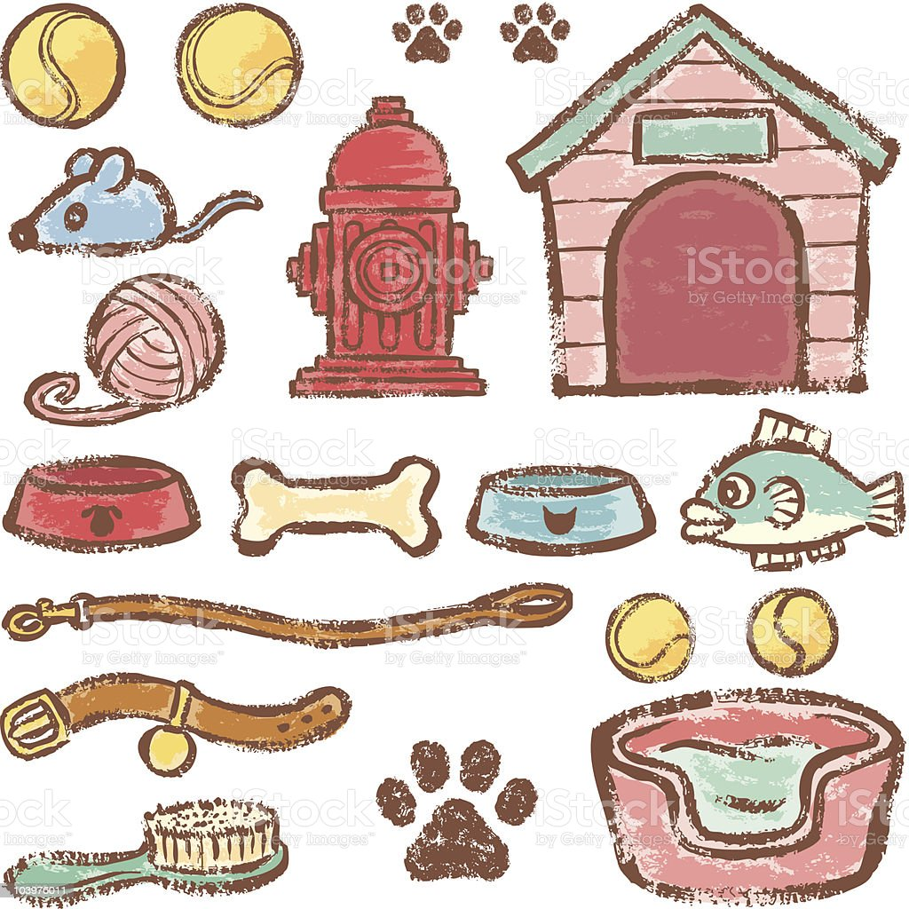 Pet supplies for dogs and cats royalty-free stock vector art