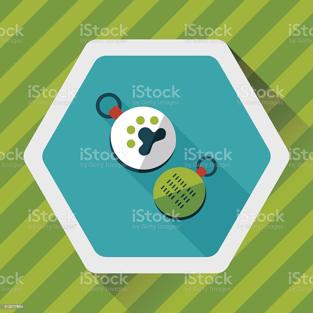 Pet tag flat icon with long shadow,eps10 vector art illustration