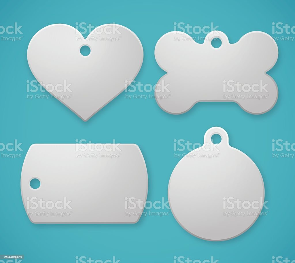 Pet Tags and Dog Tags vector art illustration