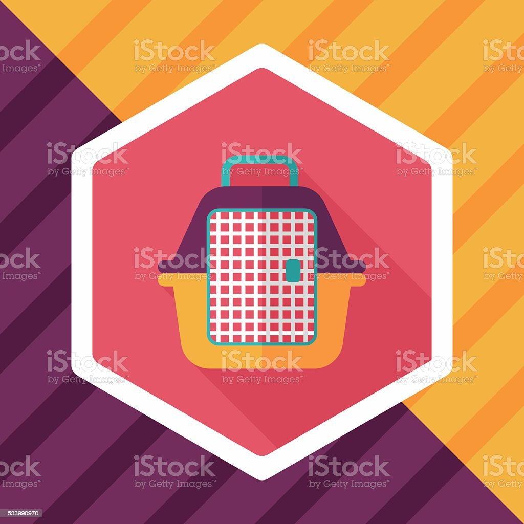 Pet travel cage flat icon with long shadow,eps10 vector art illustration
