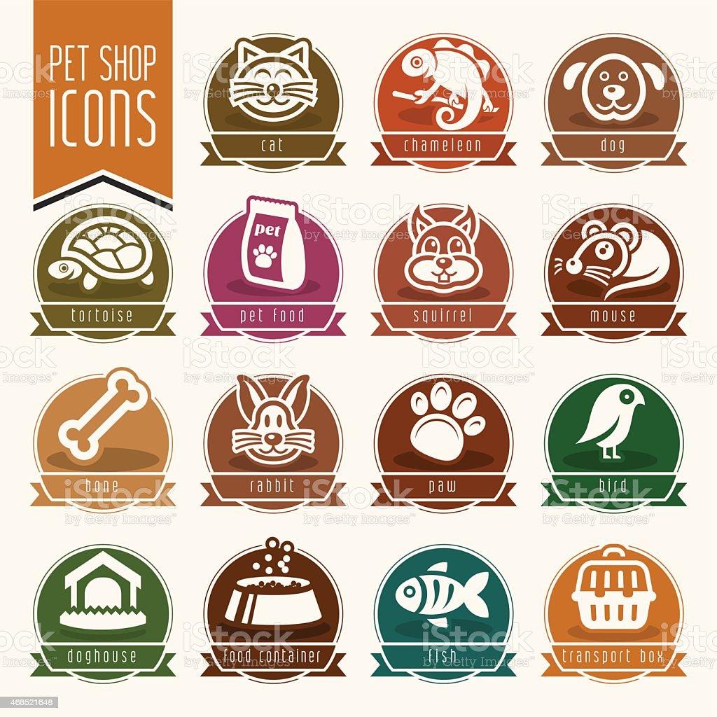 Pet, vet, pet shop icon set vector art illustration