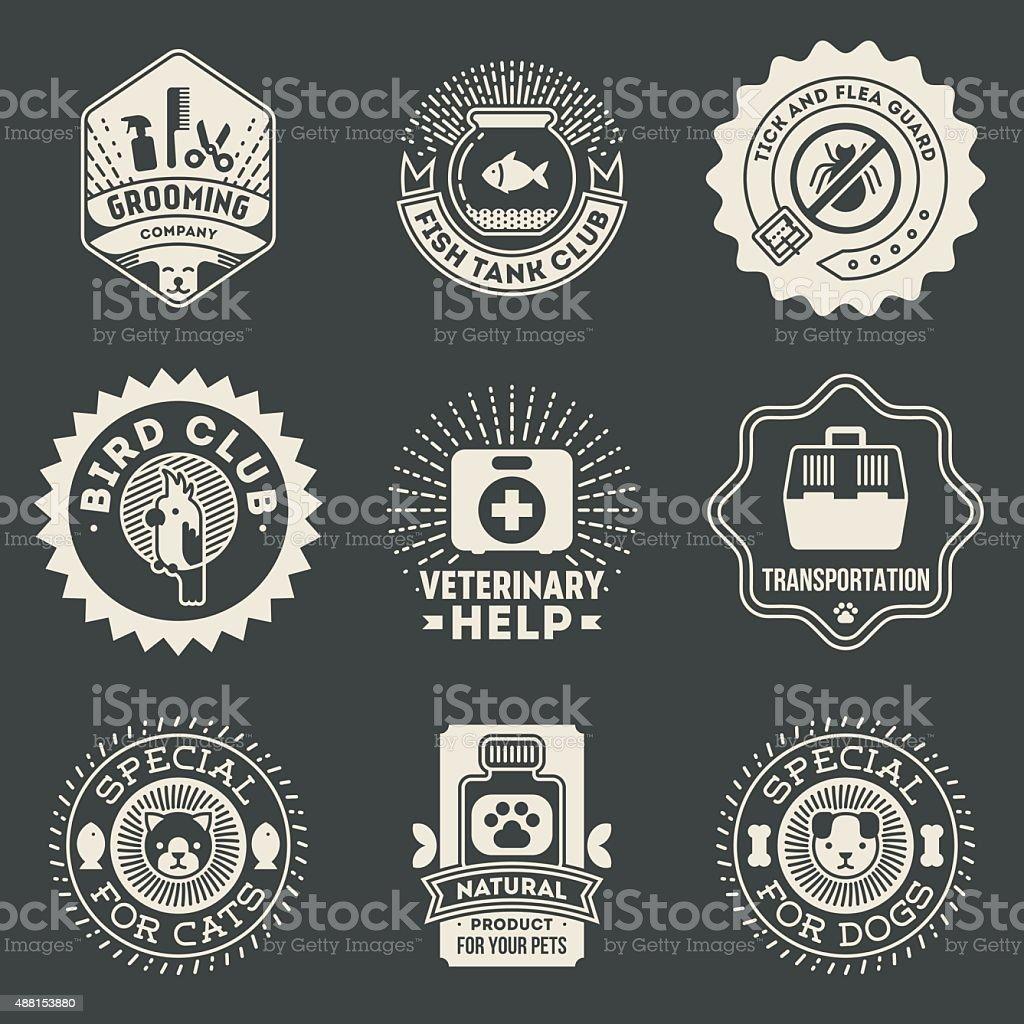 Pet Veterinary Assorted Insignias  Logotypes Template Set On Dark. vector art illustration