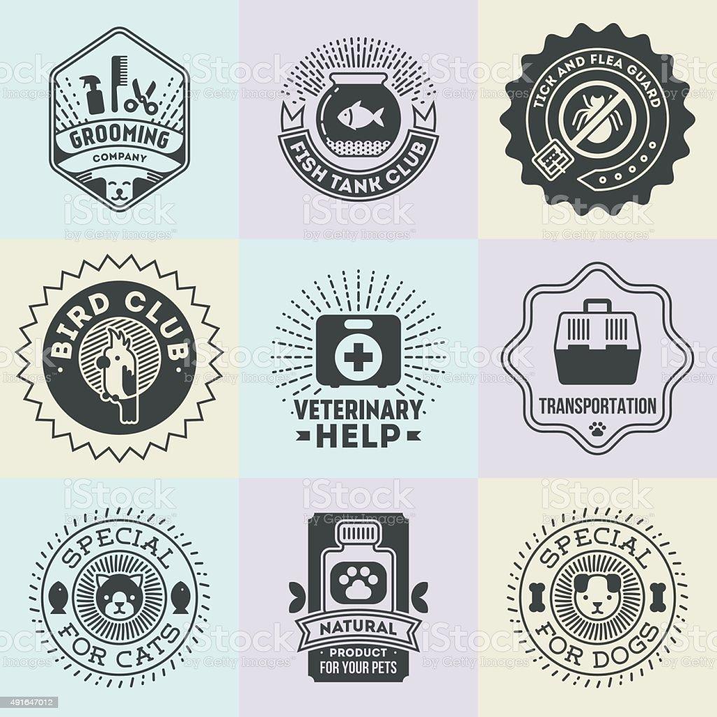 Pet Veterinary Assorted Insignias  Logotypes Template Set. vector art illustration