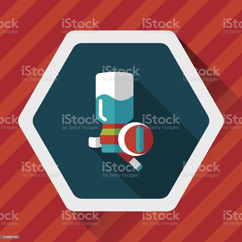 Pet water drinking flat icon with long shadow, eps10 vector art illustration