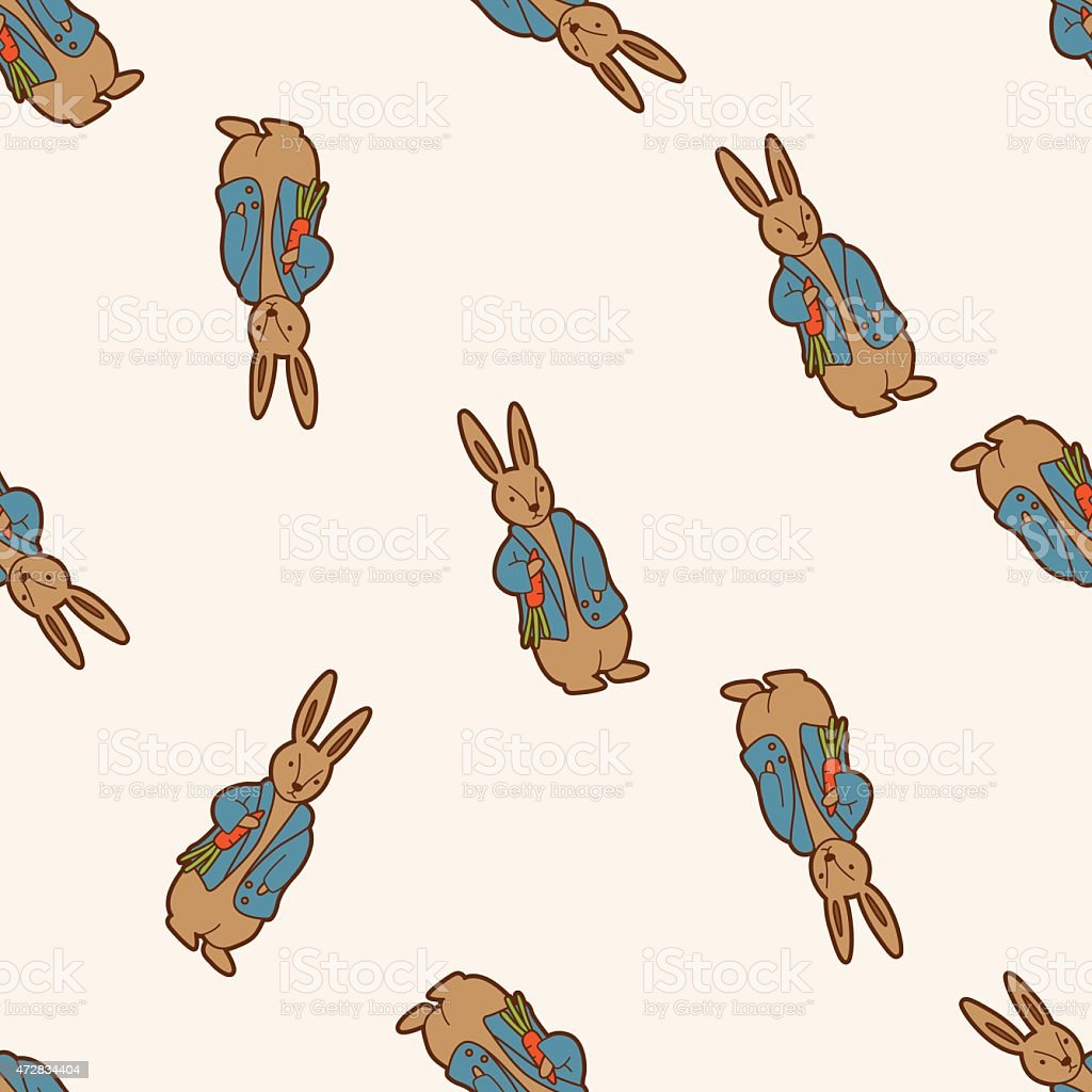 Peter Rabbit , cartoon seamless pattern background vector art illustration