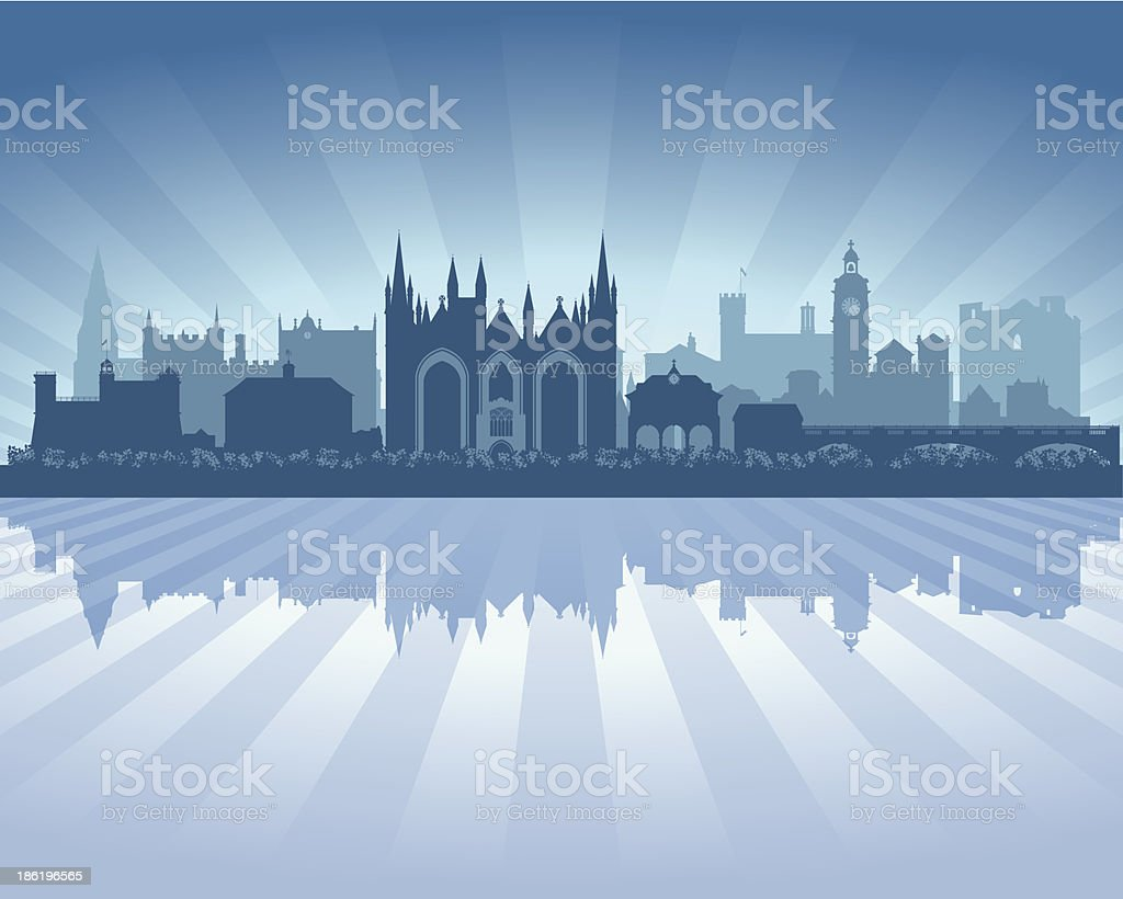 Peterborough England Blue City skyline silhouette vector art illustration