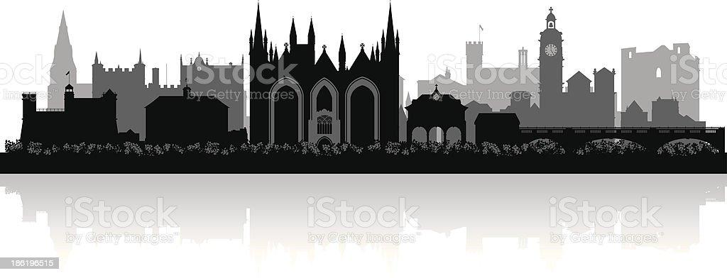 Peterborough England city skyline vector silhouette vector art illustration