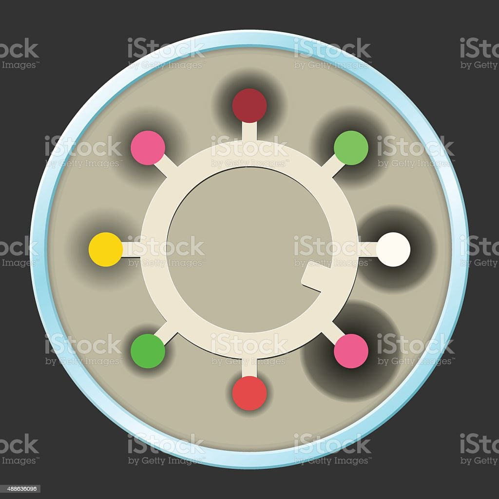 Petri Dish with Antibiotic Sensitivity Testing vector art illustration