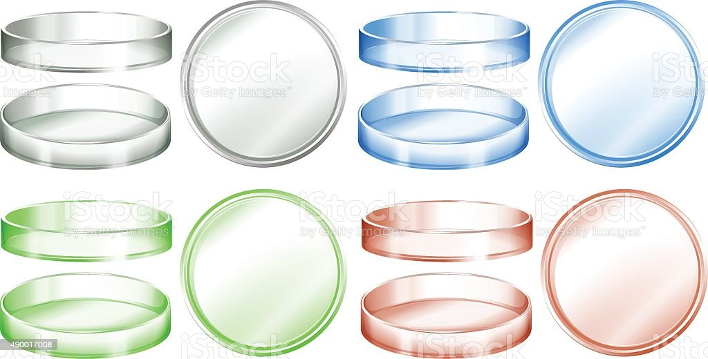 Petri dishes  different colors vector art illustration