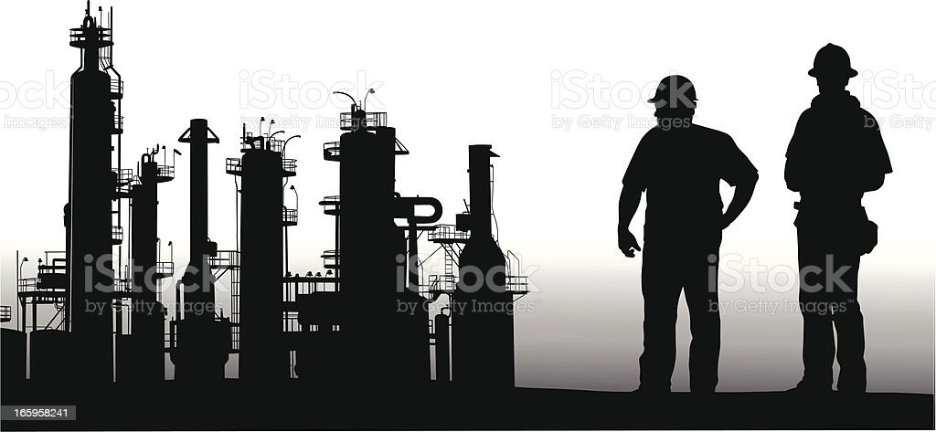 Petro Workers Vector Silhouette vector art illustration