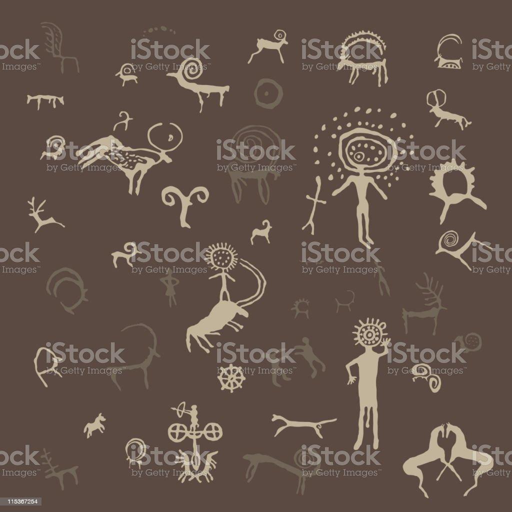 Petroglyphs royalty-free stock vector art