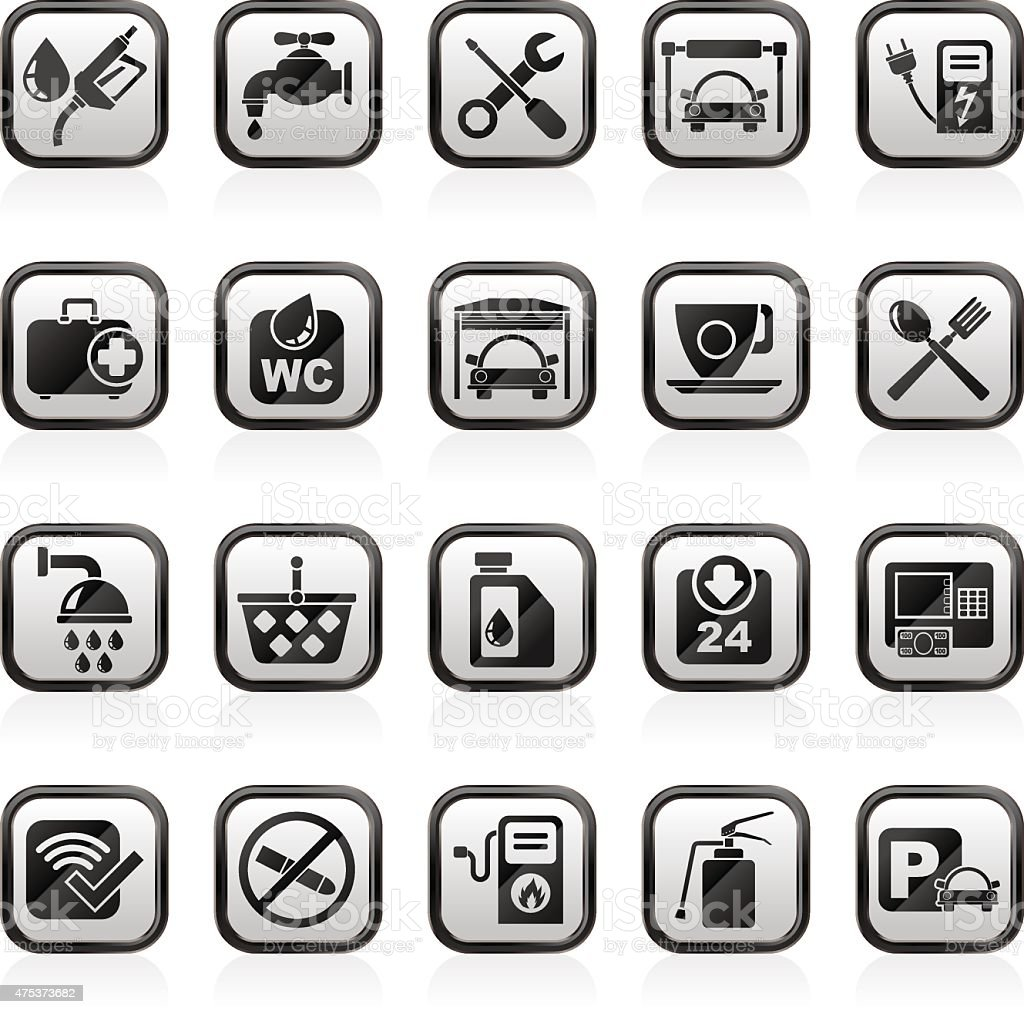 petrol station icons vector art illustration