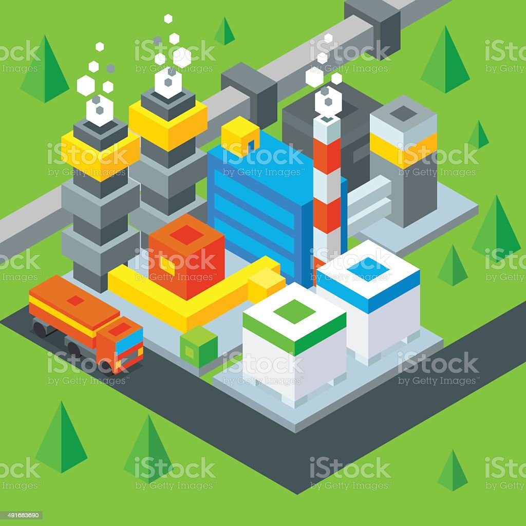 Petroleum extraction. Oil Refinery flat isometric illustration. stock vector. vector art illustration