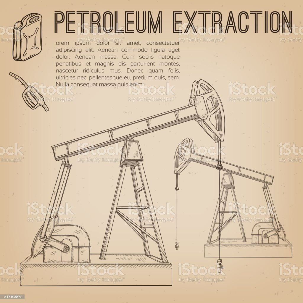 Petroleum extraction pump. vector art illustration