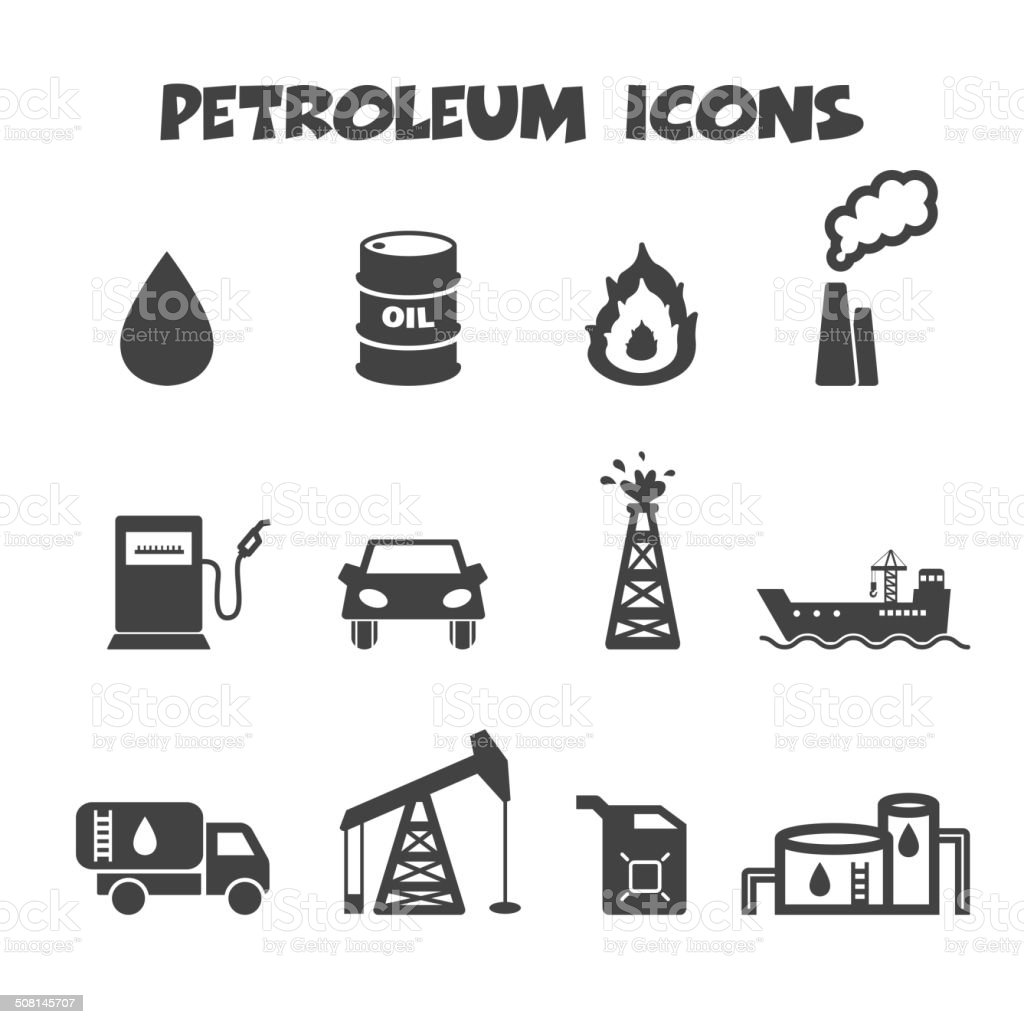 petroleum icons vector art illustration
