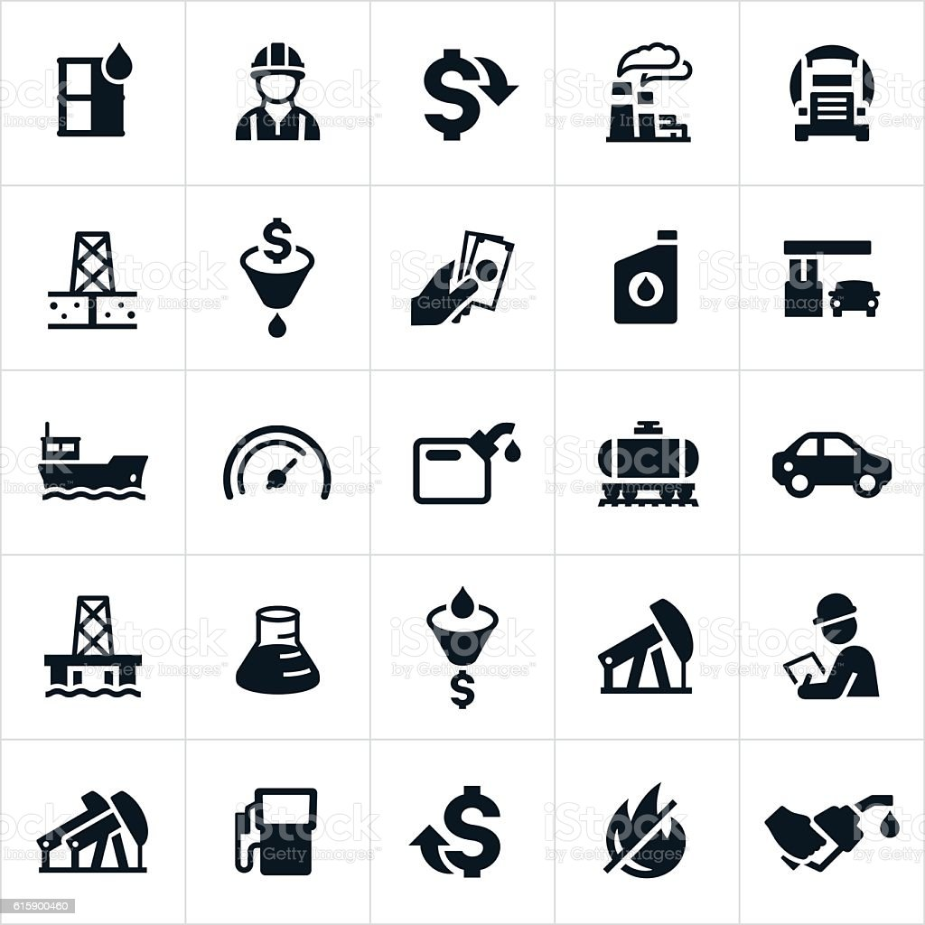 Petroleum Icons vector art illustration