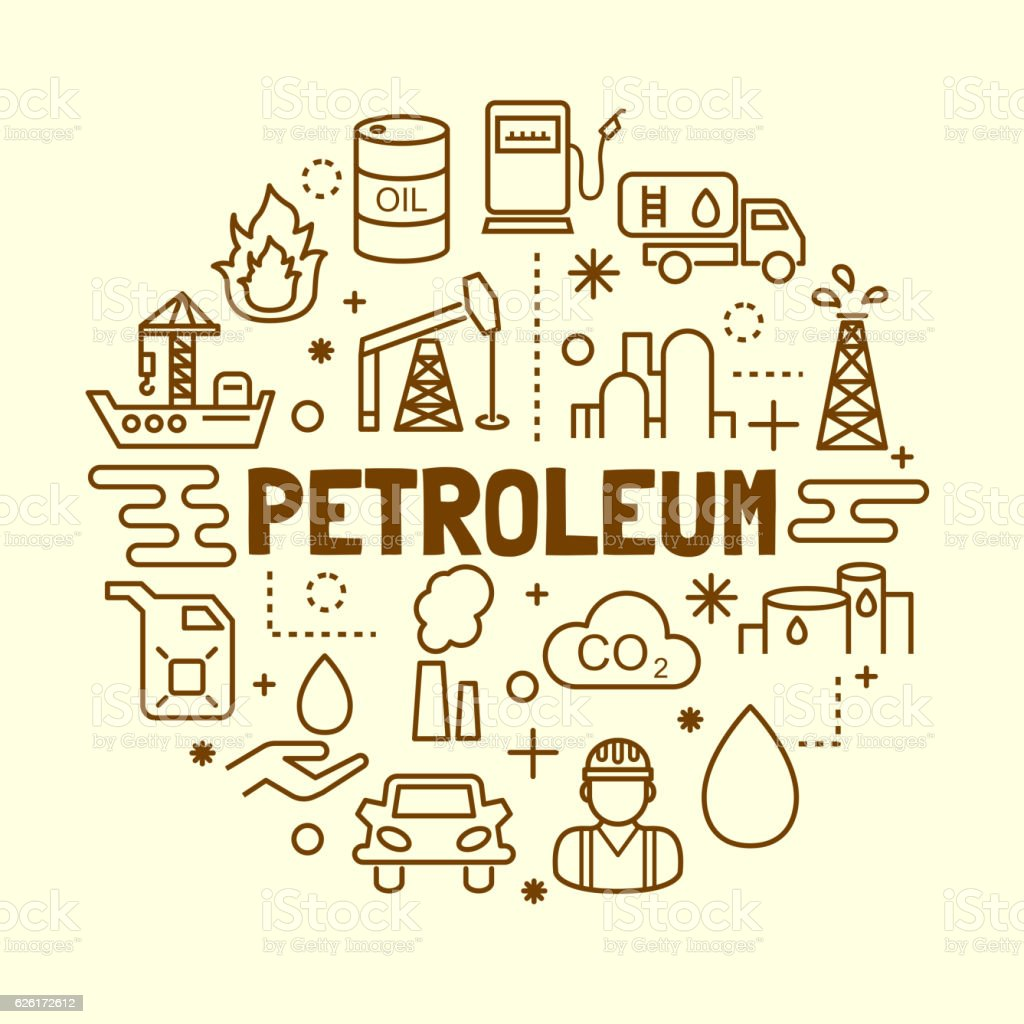 petroleum minimal thin line icons set vector art illustration