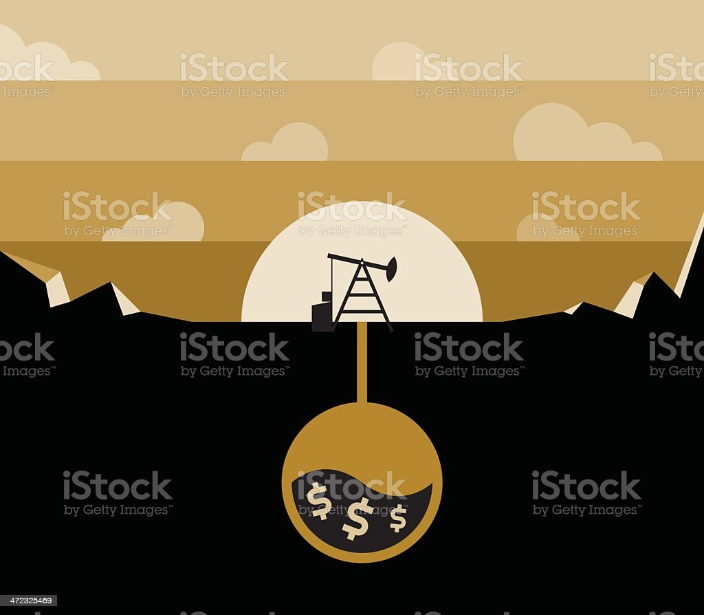 Petroleum pump and borehole with dollars royalty-free stock vector art