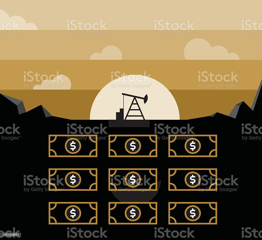 Petroleum pump and money in underground royalty-free stock vector art