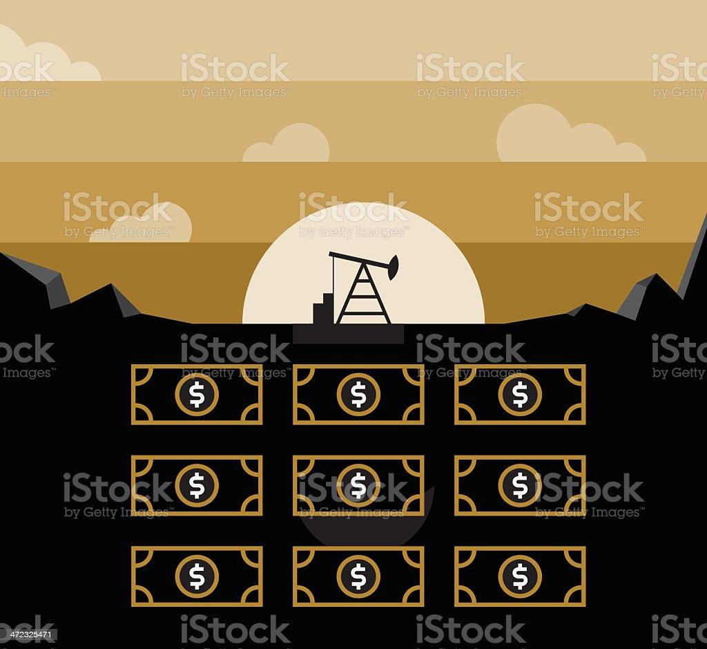 Petroleum pump and money in underground vector art illustration