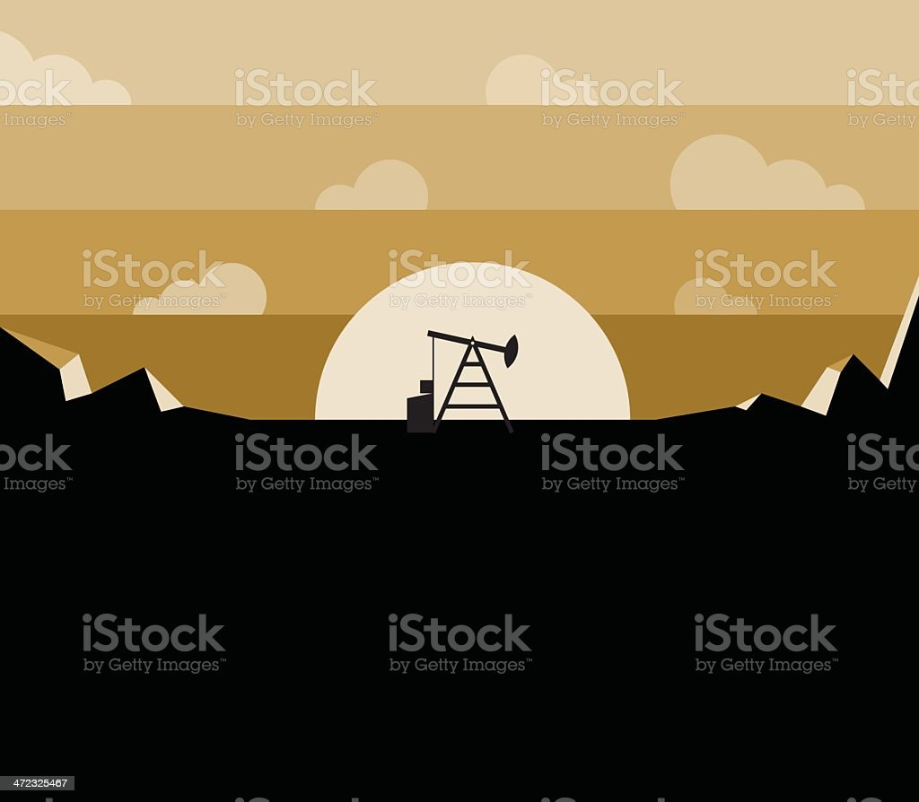 Petroleum pump silhouette against sunset royalty-free stock vector art