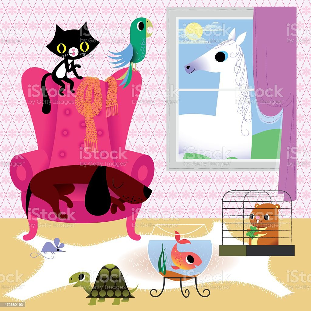 Pets at Home. Possible sources of Allergy. vector art illustration