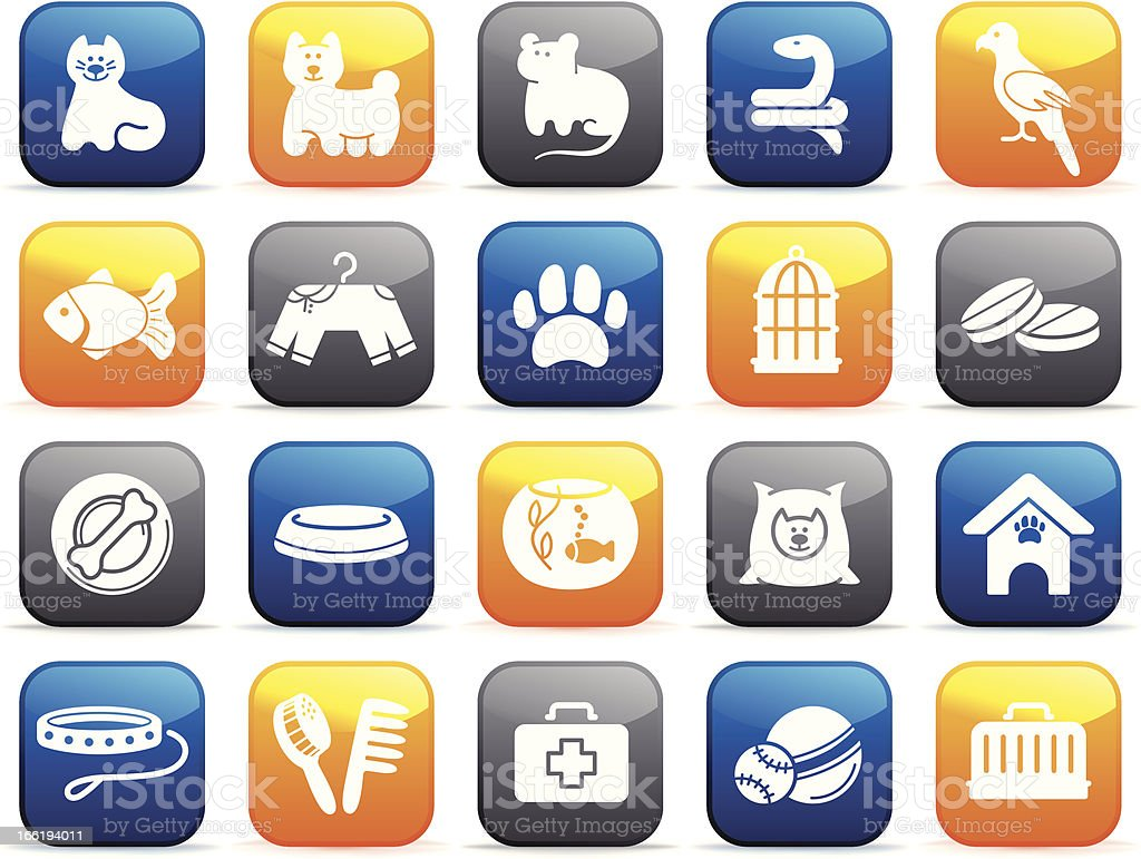 Pets care icon set on buttons royalty-free stock vector art