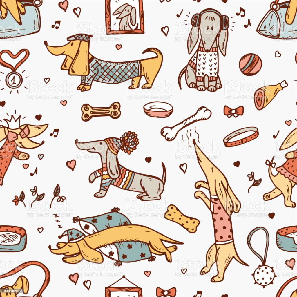 Pets. Funny Dachshund Dogs. Hand Drawn Dog Vector Seamless Pattern vector art illustration