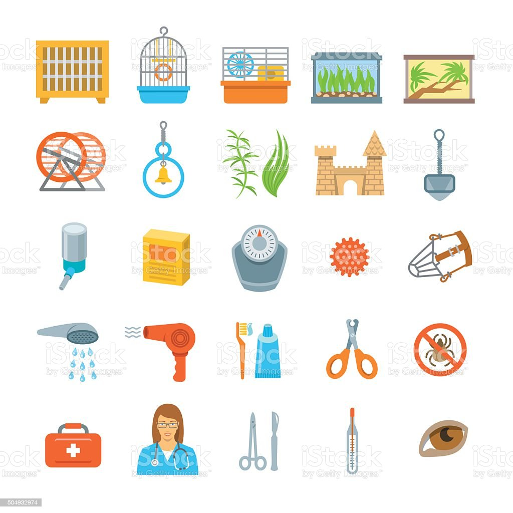 Pets grooming and healthcare accessories flat vector icons vector art illustration