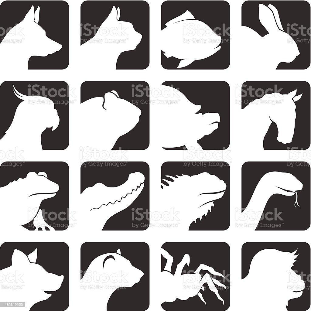 Pets icon set vector art illustration