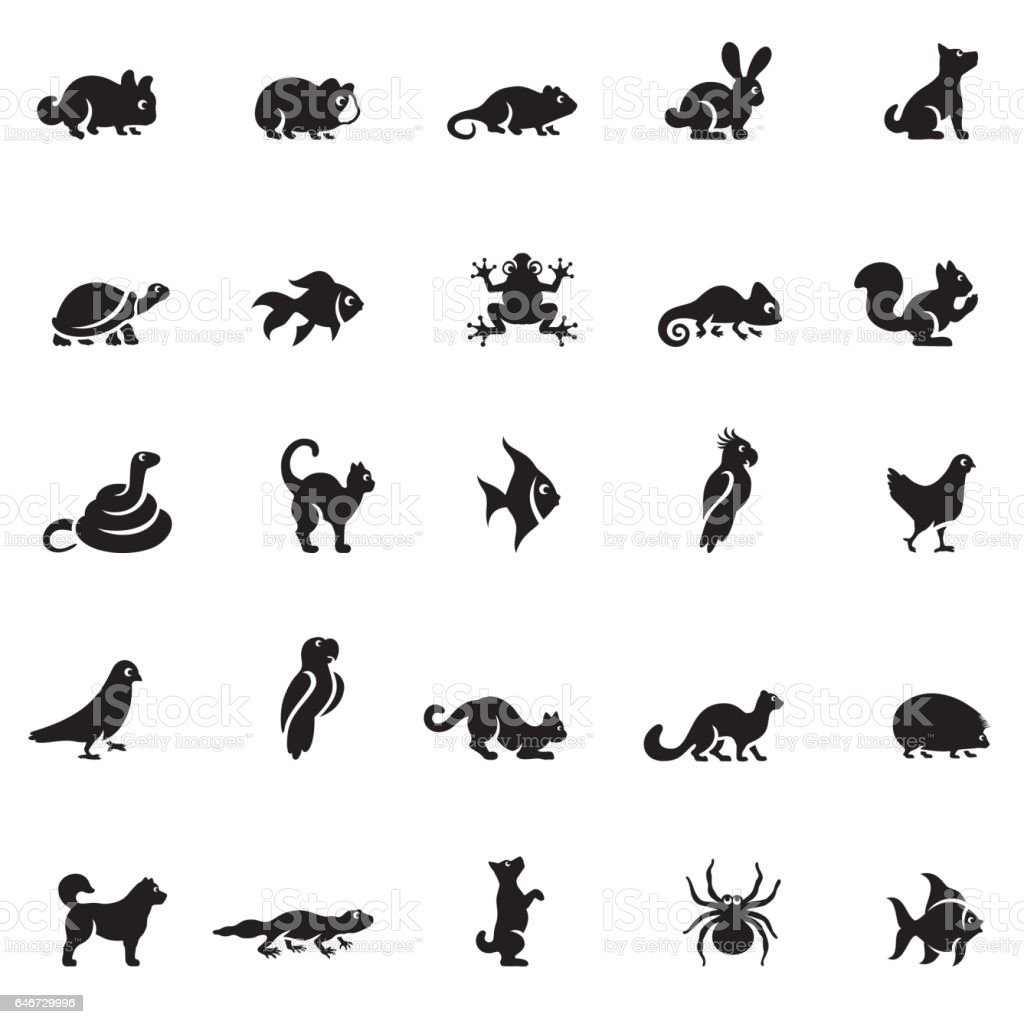 Pets Icon Set vector art illustration