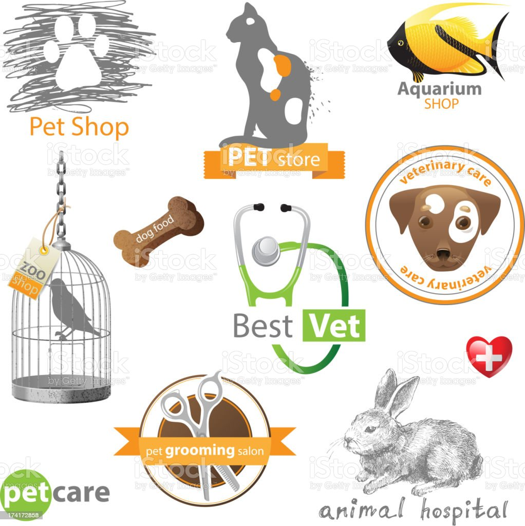 Pets icons and design elements royalty-free stock vector art