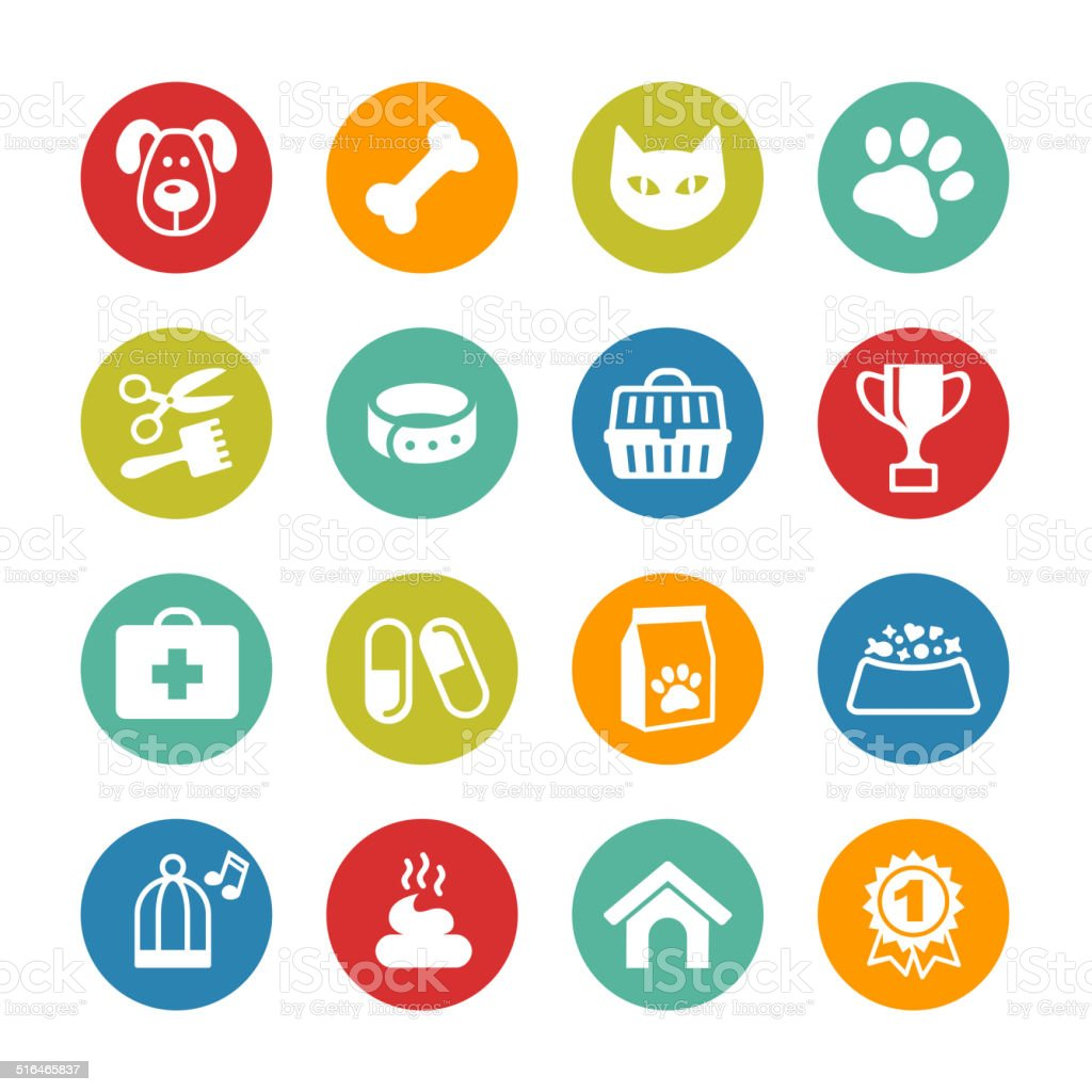 Pets icons set. Veterinary emblems, veterinary pharmacy vector art illustration