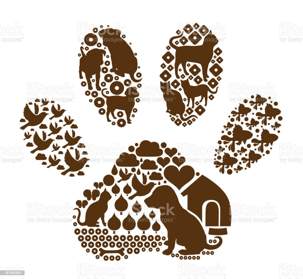 Pets in the paw shape vector art illustration