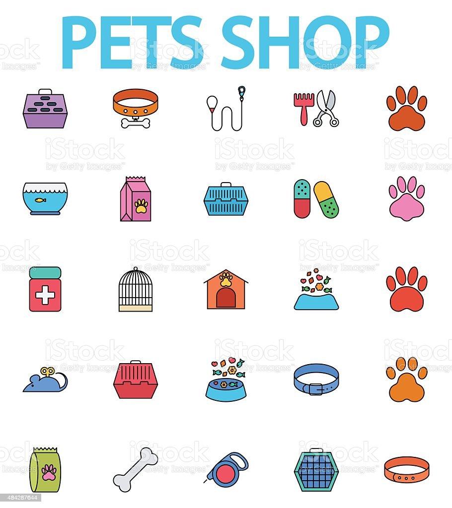 Pets shop icons vector art illustration