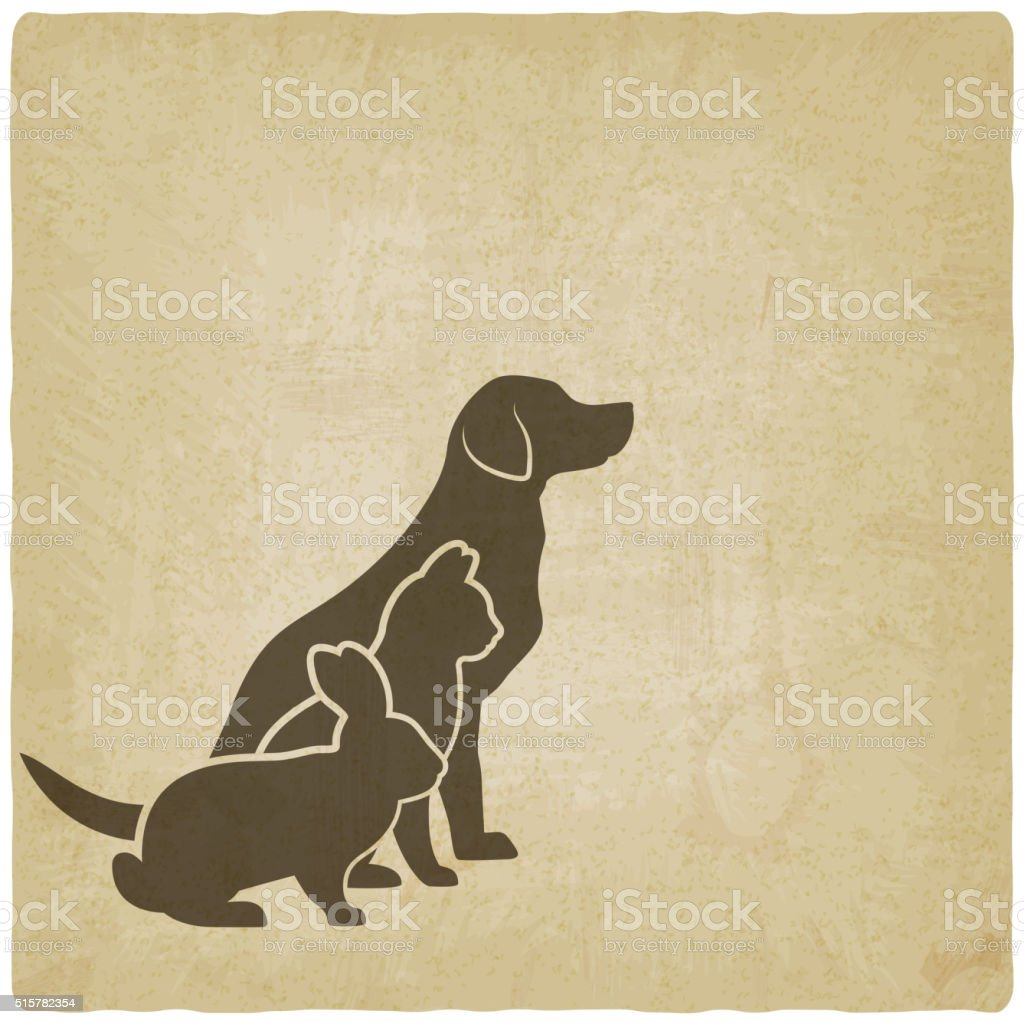 Pets silhouettes. dog, cat and rabbit. logo of pet store vector art illustration