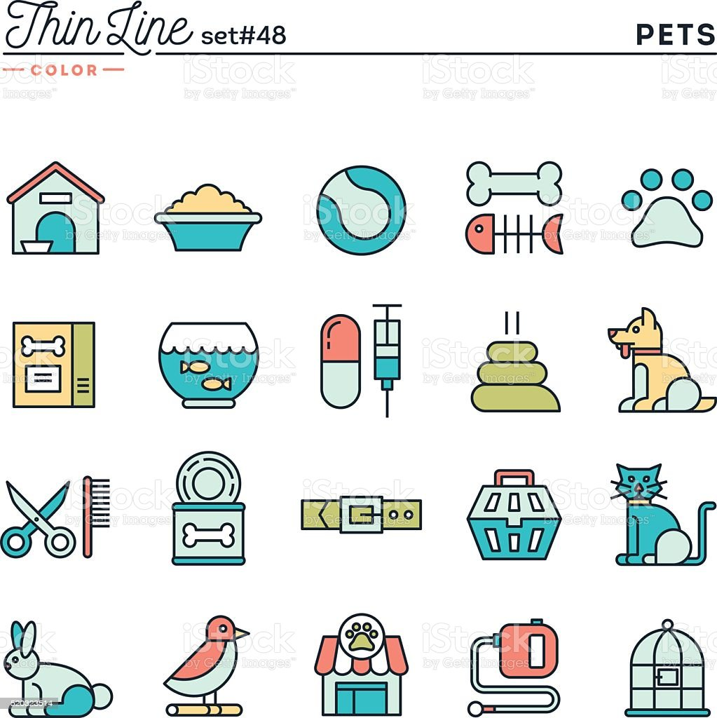 Pets, thin line color icons set vector art illustration