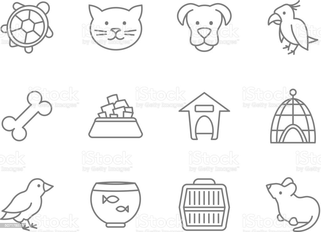 Pets vector icon set in line art style vector art illustration