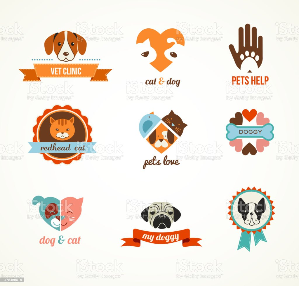 Pets vector icons - cats and dogs elements vector art illustration