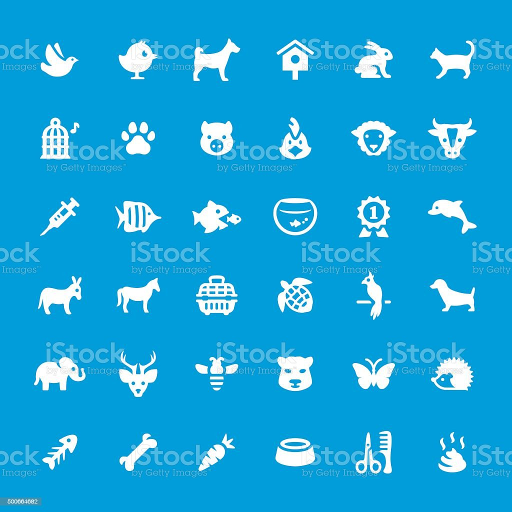 Pets vector icons set vector art illustration