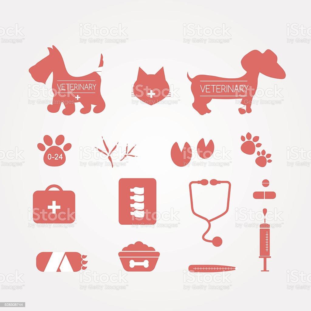 Pets veterinary icons set. Medicine emblems. Vector illustration vector art illustration